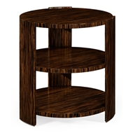 Jonathan Charles Home Art Deco Style Three-Tier Faux Macassar Side Table 494397-MAS Faux Macassar Ebony
