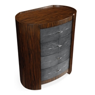 Jonathan Charles Home Oval Bedside Chest 494404-MAS Faux Macassar Ebony