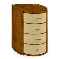 Jonathan Charles Home Ivory Shagreen Oval Bedside Chest Of Drawers 494405-DLF Daniella Light Finish