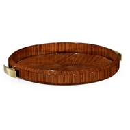 Jonathan Charles Home Art Deco Round Tray With Brass (High Lustre) 494424-SAH Santos Rosewood High Lustre