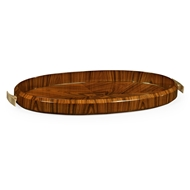 Jonathan Charles Home Art Deco Oval Tray With Brass (High Lustre) 494425-SAH Santos Rosewood High Lustre