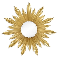 Jonathan Charles Wall Decor Small Gilded Sunburst Mirror 494468-GIL Antique Gold-leaf Light