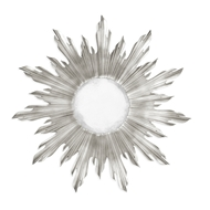 Jonathan Charles Wall Decor Small Silver Sunburst Mirror 494468-SIL Antique Silver-leaf light on wood