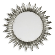 Jonathan Charles Wall Decor Large Silver Sunburst Mirror 494469-SIL Antique Silver-leaf light on wood