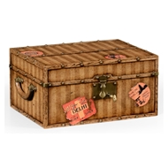 Jonathan Charles Home Travel Trunk Style Fitted Box 494480-LPC Lacquered Parchment Finish