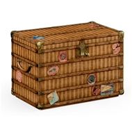 Jonathan Charles Home Travel Trunk Style Storage Chest 494481-LPC Lacquered Parchment Finish