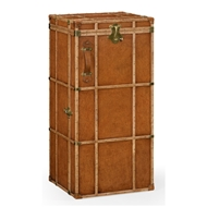 Jonathan Charles Home Travel Trunk Style Wine And Cocktail Cabinet 494487-L002 Leather Antique Chestnut Medium-Solvent Base