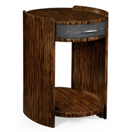 Jonathan Charles Home Anthracite Faux Shagreen And Macassar Ebony Oval Side Table