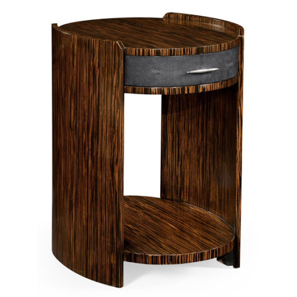 Jonathan Charles Home Anthracite Faux Shagreen And Macassar Ebony Oval Side Table 494517-MAS