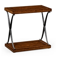 Jonathan Charles Home Hammered Iron Two Tier Table 494529-RBO Rustic Burr Oak Medium Finish