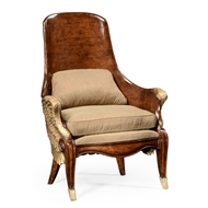 Jonathan Charles Home Empire Style Winged Chair 494537-WAL-F001 Walnut Medium