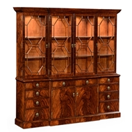 Jonathan Charles Home Mahogany Triple Bookcase With Octagonal Glazing Bars 494561