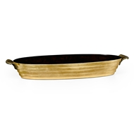 Jonathan Charles Home Stepped Gilded Oval Tray 494583-GIL Antique Gold-leaf Light