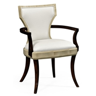 Jonathan Charles Home Opera Art Deco Armchair With Cream Leather 494586-AC-GSH-L025 Champagne Finish