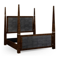 Jonathan Charles Home Faux Macassar & Anthracite Faux Shagreen Us Queen Bed 494623-USQ-MAS Shagreen Anthracite