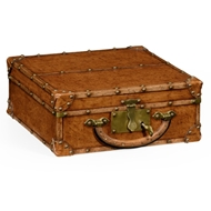 Jonathan Charles Home Travel Trunk Style Box 494670-L002 Leather Antique Chestnut Medium-Solvent Base