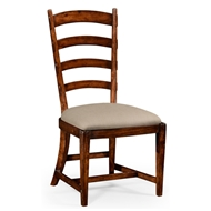 Jonathan Charles Home French Ladderback Style Side Chair 494774-SC-WAL-F001 Walnut Medium