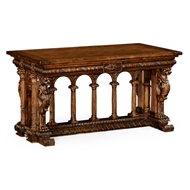 Jonathan Charles Home French Renaissance Style Library Table 494780-MWA Antique Walnut Medium