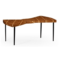 Jonathan Charles Home Burl Oak Bowtie Coffee Table