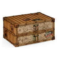 Jonathan Charles Home Travel Trunk Style Desktop Chest 494806-LPC Lacquered Parchment Finish