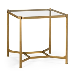 Jonathan Charles Home Patinated Gilded Finish Square Side Table 494921