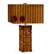Jonathan Charles Lighting Striped Travel Trunk Style Table Lamp 494971