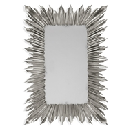 Jonathan Charles Wall Decor Silvered Rectangular Sunburst Mirror 495000-SIL Antique Silver-leaf light on wood