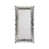Jonathan Charles Wall Decor Silvered Floor Standing Rectangular Sunburst Mirror 495004-SIL Antique Silver-leaf light on wood