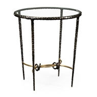 Jonathan Charles Home Bronze Finish Hammered Iron Circular Side Table