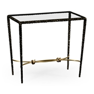 Jonathan Charles Home Bronze Finish Hammered Iron Rectangular Side Table