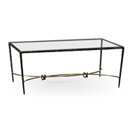 Jonathan Charles Home Bronze Hammered Rectangular Coffee Table 495027
