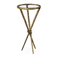 Jonathan Charles Home Bronze Hammered Iron Circular Wine Table Tripod Base 495030