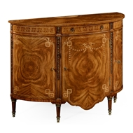 Jonathan Charles Home Sheraton Style Walnut Bow Fro 495039-CWL Crotch Walnut Light on Marquetry veneer