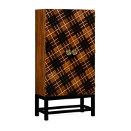 Jonathan Charles Home Tartan Haberdashery Chest 495041-WLM Light Walnut on Marquetry veneer