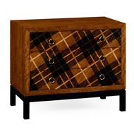 Jonathan Charles Home Hand Inlaid Tartan Low Chest 495042-WLM Light Walnut on Marquetry veneer
