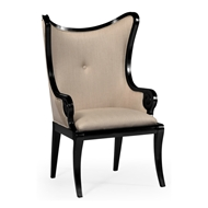 "Jonathan Charles Home Black Painted ""Butterfly"" Upholstered Armchair 495051-AC-BLA-F001 Painted Formal Black"