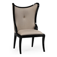 "Jonathan Charles Home Black Painted ""Butterfly"" Upholstered Side Chair 495051-SC-BLA-F001 Painted Formal Black"