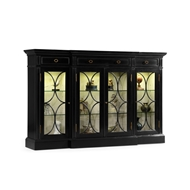 Jonathan Charles Home Black Painted 4-Door Breakfront Display Cabinet 495144-BLA Painted Formal Black