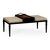 Jonathan Charles Home Upholstered Ottoman 495162-BLA-F001 Painted Formal Black