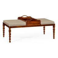 Jonathan Charles Home Upholstered Ottoman 495162-WLL-F001 Walnut Light
