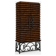 Jonathan Charles Home Rustic Walnut Wine Cabinet With Wrought Iron Base 495170-RWL Rustic Walnut Finish