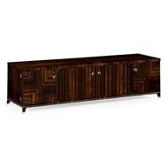 Jonathan Charles Home Soho Tv Cabinet With White Brass Detail 495176-AMA Macassar Ebony Finish