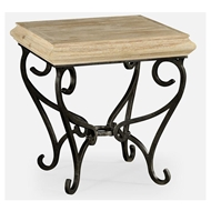 Jonathan Charles Home Limed Wood Square Side Table With Wrought Iron Base