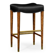 Jonathan Charles Home Daniella Light Cosmo Barstool With Black Leather 495182-DLF-L012 Daniella Light Finish