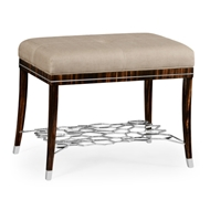 Jonathan Charles Home Soho Stool With White Brass Detail 495187-AMA-F001 Macassar Ebony Finish