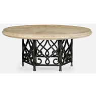 "Jonathan Charles Home 72"" Limed Wood Dining Table With Wrought Iron Base 495198-72D"