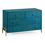 Jonathan Charles Home Teal Faux Shagreen And Brass Legged Chest 495201