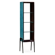 Jonathan Charles Home Teal Faux Shagreen And Bronze Legged Tagere 495203