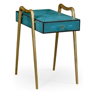 Jonathan Charles Home Teal Faux Shagreen And Brass Legged End Table