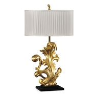 Jonathan Charles Lighting Gold-Leaf Gilded Carved Table Lamp 495219